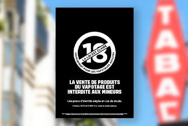 Logo interdit 18 ans cigarette électronique Tabac le Calendal Sisteron